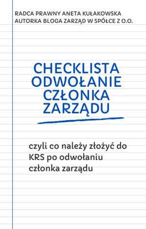 Checklista odwołanie członka zarządu