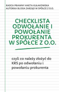 Checklista odwołanie i powołanie prokurenta w spółce z o.o.
