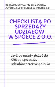 Checklista po sprzedaży udziałów w spółce z o.o.