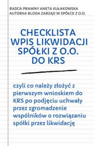 Checklista wpis likwidacji spółki z o.o. do KRS